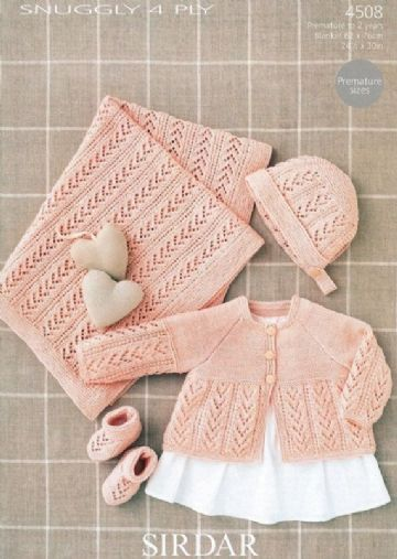 Sirdar Snuggly 4 ply Knitting Pattern, 4508, cardigan, bonnet , bootees and blanket